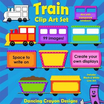 Train Clip Art - Colorful Trains