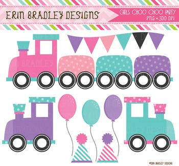 Train Clipart - Birthday Party Graphics
