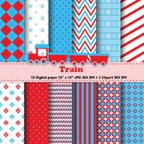 Train Clipart + Digital Paper