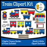 Train Clipart Kit (clipart, digital papers, border, & frame)