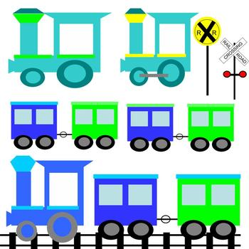 Train Clipart in blue and lime green