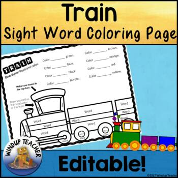 Train Color the Word Activity Sheet *Editable*