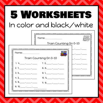 Train Count On Number Strips and Worksheets - S