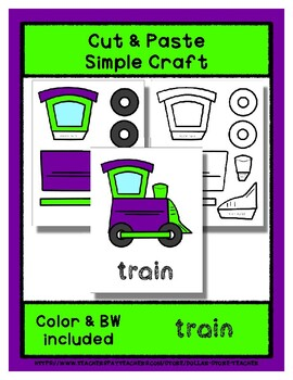 Train  - Cut & Paste Craft - Super Easy perfect for Pre-K & Kindergarten