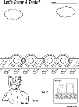 Train Drawing and Coloring Worksheet