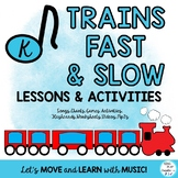 Music Lesson Unit for Fast & Slow: Train Themed with Movement Activities PrK-K