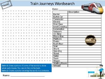 Train Journeys Wordsearch Sheet Starter Activity Keywords Rail Transport