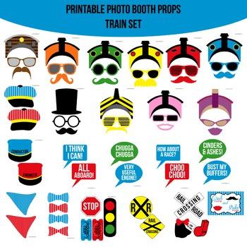 Train Printable Photo Booth Prop Set