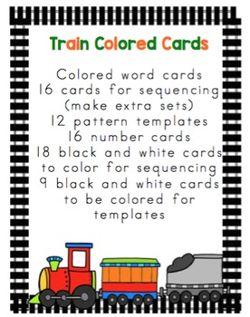 Train Sequencing Cards and Vocabulary Words