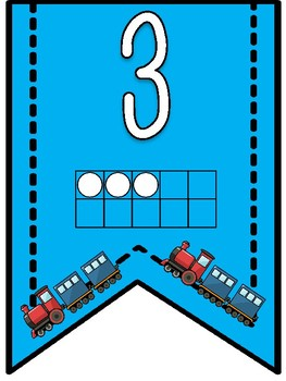 Train Theme- Numbers 1-20 Banner Pennants