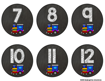 Train Theme Student Number Labels
