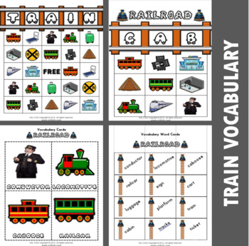 Train Themed Bingo Matching Activities