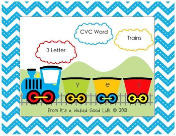 Train Themed Three Letter CVC Words Center