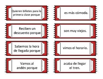 Train & Train Station Spanish Vocabulary Sentence Building: Because
