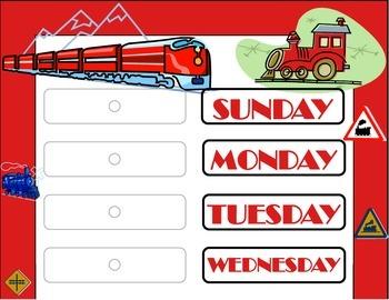 Train Weekday Chart! Train Bulletin Board! Train Theme! Transportation Theme!