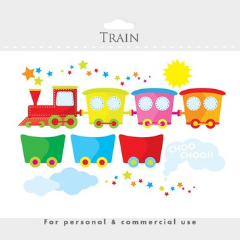 Train clipart - cute train clip art and wagons, sun, clouds, smoke, stars