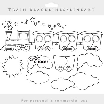 Train clipart - lineart train clip art blacklines wagons clouds smoke black line