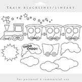 Train clipart - lineart train clip art blacklines wagons clouds smoke black line