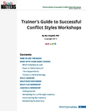 Trainers Guide to Successful Conflict Styles Workshops