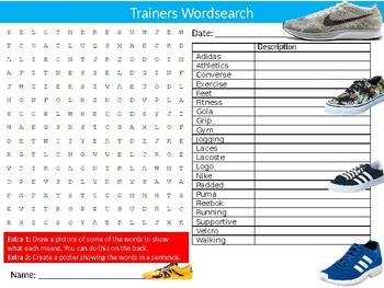 Trainers Wordsearch Puzzle Sheet Keywords Homework Shoes Footwear Clothes