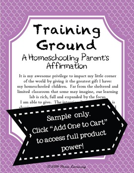 A Homeschooling Parent's Affirmation (Professional Development)