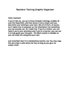 Training Notes Organizer (editable)
