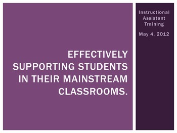 Training Powerpoint for Instructional Assistants