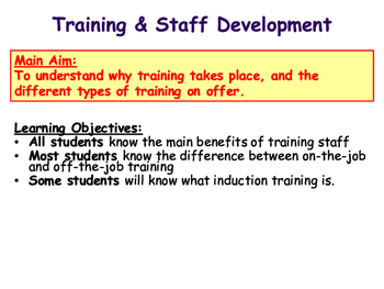 Training - Staff Development - On the Job & Off the Job Training
