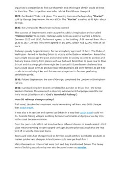 Trains 1830 to 1900 Information Sheet