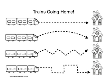Trains Going Home! Pre-Printing Fine Motor Skills for Toddlers and Preschoolers