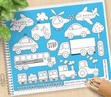 Trains Planes and Trucks Clipart - BLACKLINE - color me, with outlines
