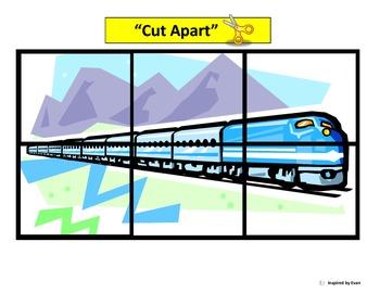 Trains Simple Cut & Paste Puzzles for Autism