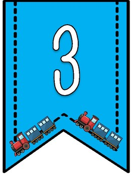 Trains Theme- Number Banner Pennants 1-50
