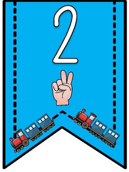 Trains Theme- Numbers 1-10 Banner Pennants