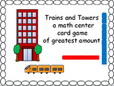 Trains and towers, a math center card game.