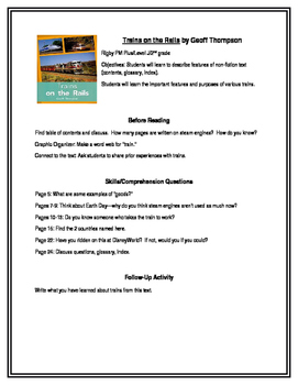 Trains on the Rails for Guided Reading (Rigby PM Plus)