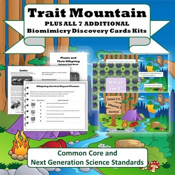 """Trait Mountain"" STEM Unit + All Biomes Biomimicry Discovery Card Kits"