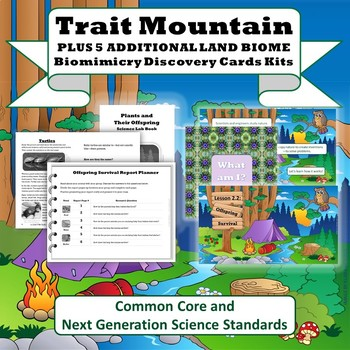 """Trait Mountain"" STEM Unit + Land Biomes Biomimicry Discovery Card Kits"