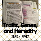 Traits and Heredity Reading Comprehension Interactive Notebook Activity