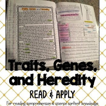 Traits Genes Heredity Reading Comprehension Interactive No