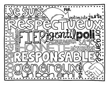 Traits de caractère - Word Collage & Graphic Organizers