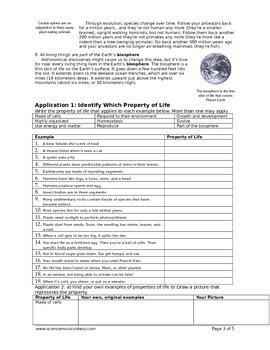 Properties of Living Things Worksheet