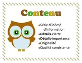 Traits of Writing Owl-Themed Posters in French