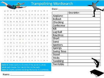 Trampolining Wordsearch Sheet PE Fitness Sports Starter Activity Keywords
