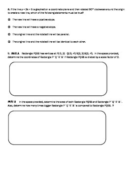 Transformations  PARCC style questions