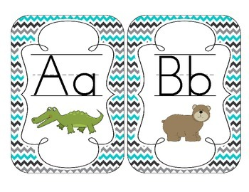 Tranquil Turquoise Alphabet Cards