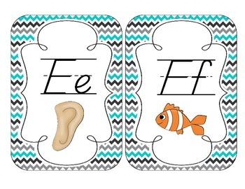 Tranquil Turquoise Alphabet Cards: D'Nealian Version