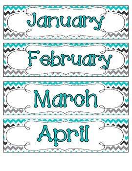 Tranquil Turquoise Calendar Numbers, Months and Days