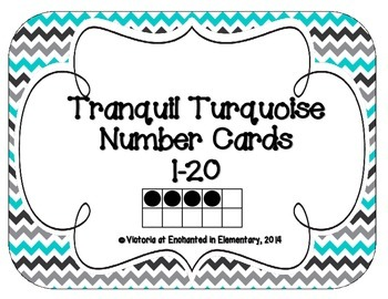Tranquil Turquoise Number Cards 1-20