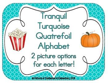 Tranquil Turquoise Quatrefoil Alphabet Cards